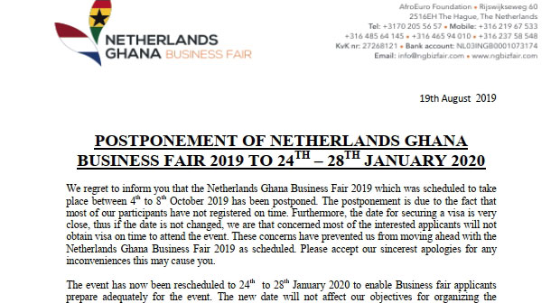 You are currently viewing Postponement of Netherlands Ghana Business Fair 2019 to 24th – 28th January 2020